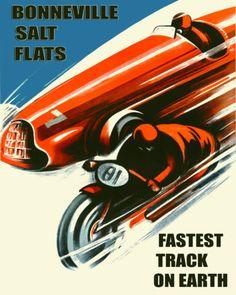 Bonneville-Salt-Flats-Motorcycle-Car-Race-16X20-Vintage-Poster-Repro-FREE-S-H