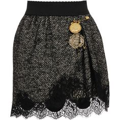 Tweed and Lace ($11) ❤ liked on Polyvore featuring skirts, saias, bottoms, black, lace skirt, knee length lace skirt, dolce gabbana skirt, lacy skirt and tweed skirt