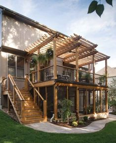 Deck Supply Fireplace Henges Insulation Furniture screened-in porch Pottery Barn Furniture deck Seasonal Concepts Hanging plants most Style At Home, Future House, Design Exterior, Backyard Patio Designs, Backyard Ideas, Pergola Designs, Decks And Porches, Building A Deck, Building Plans