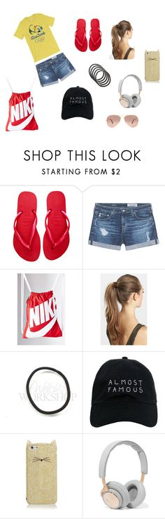 """Olympics"" by pandasumsum ❤ liked on Polyvore featuring Havaianas, AG Adriano Goldschmied, NIKE, France Luxe, Nasaseasons, Kate Spade, B&O Play and Ray-Ban"