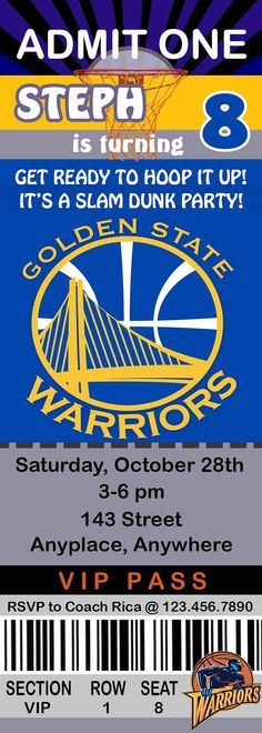 Golden State Warriors Ticket Style Party Invites Great for sports - invitation ticket template