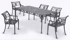 Garden and Patio Furniture, Cast Aluminum patio Garden Furniture Dolphin 7 Piece Dining Set These are Classic Reproduction Pieces and will match your existing Dolphin Furniture Made in USA