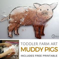 Download the free pig printable, grab 2 ingredients, and watch your toddlers have fun with this hands-on art activity!