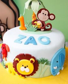 Jungle themed Birthday Cake by Bake-a-boo Cakes NZ, Jungle Birthday Cakes, Animal Birthday Cakes, Jungle Cake, Baby Birthday Cakes, Animal Cakes, Birthday Ideas, Monkey Birthday, Jungle Party, Safari Party
