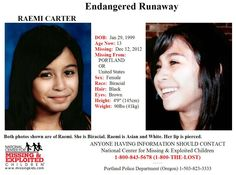 1/14/2013: Please share to locate Raemi Carter (13) missing from PORTLAND, OREGON since 12/12/1... pinned with Pinvolve