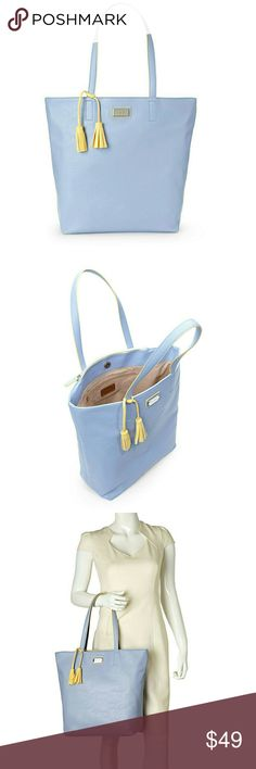 """New NINE WEST Periwinkle & Lemon TASSELED tote New NINE WEST Periwinkle & Lemon TASSELED LARGE TOTE BAG blue yellow  Excellent new condition  Width- 16""""  Hight- 12""""  Handle Length- 10"""" Nine West Bags Totes"""
