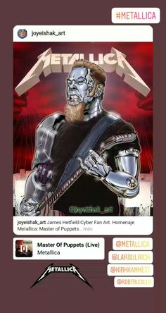 Metallica - @joyeishak_art Master Of Puppets, James Hetfield, Metallica, Captain America, Cyber, Fan Art, Superhero, Fictional Characters, Make Art