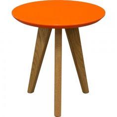 Retro End Table   Gloss Orange Top Oakwood Furniture, Office Table, Sofa Tables, Oak End Tables, Oak Table, Coffee Tables, Living Room Sofa, Vintage Furniture, Orange Furniture