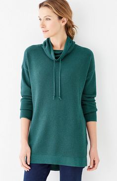 Pure Jill textured cowl-neck pullover