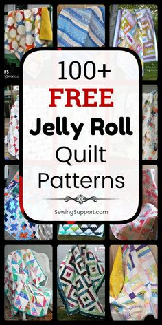 Free Quilt Patterns for Jelly Roll Quilts. 100+ Free Jelly Roll quilt patterns, sewing tutorials, and diy projects. Many simple designs easy enough for beginners to sew. Great for use with jelly roll fabric strips. #SewingSupport #JellyRoll #Quilts #Quilting #Pattern #Free