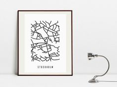 Stockholm Abstract Map - Original Black and White Art Print by Postery on Etsy