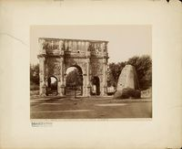 Triumphbogen des Konstantin (Arco di Costantino) und Meta Sudante in Rom Arch Of Constantine, Painting, Arch, Fotografia, Fountain, Painting Art, Paintings, Painted Canvas, Drawings