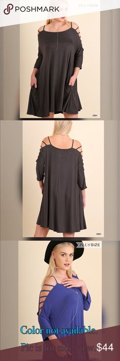 👌👌PLUS👌👌NEW👌👌Kallia Cutout Sleeve Dress Cutout Sleeve Dress with pocket. 60% cotton 40% polyester. Soft & comfortable! Dresses