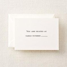 Pearl White Block Text Table Cards