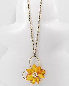 Brass Mother of Pearl & Freshwater Pearl Flower Necklace