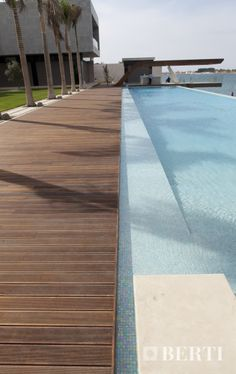 Havana Decking by Berti Wooden floor. The boards are supplied raw, and once lay down they can be treated with a specific vegetable oil for external use, which guarantee maximum protection from atmospheric agents and UV rays, preventing the floor from becoming grey, maintaining the warmth and the natural colour of the essence unaltered in time. #parquet #parquetlovers