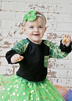 530dec0ea6a13 The Hair Bow Company - St. Patrick's Day Girls Green Plaid Green Tutu, Gold