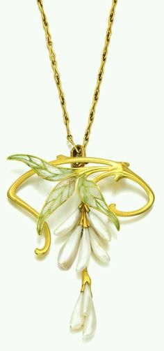 Gold, enamel and freshwater pearl necklace, Vever, circa 1900. Designed as a wisteria spray, with plique-à-jour enamel leaves, suspending freshwater pearl flower buds, to a fancy link chain.