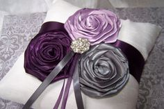 Ring Bearer Pillow  Dark Plum Lilac Charcoal Gray and by itsmyday, $45.00