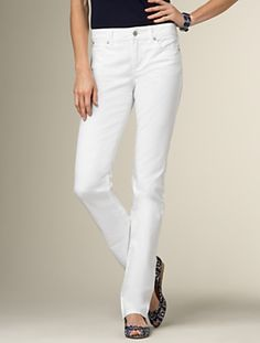 Talbots - Heritage Fit White Wash Straight Leg Five-Pocket Jean | Denim | Apparel.  Everyone needs a pair of white denim jeans.  These are great, love the leg shape and they are super comfortable