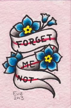 Forget Me Not Valentine, tattoo flash by Evie Yapelli - showpigeon.com