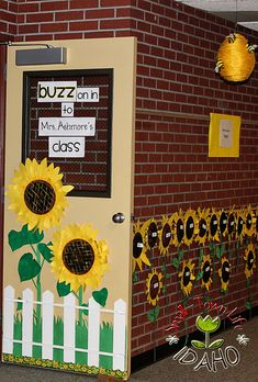 Checkout this great post on Bulletin Board Ideas!  - AD's you can use this Bee theme to have the residents Buzz on in to activities and post the monthly active sheet where the teacher has her name. Make this on a smaller scale for residential room boards that will last Spring and Summer. All you have to change is the monthly activity sheet.
