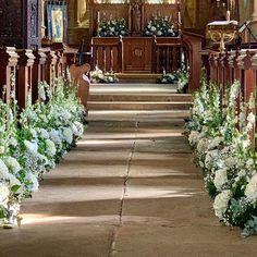 Church Wedding Ceremony, Wedding Ceremony Decorations, Green Flowers, Wild Flowers, Wild Flower Arrangements, Church Flowers, Wedding Fair, Green Rooms, Bespoke Design