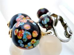 Vintage Venetian Millefiori Glass Earrings Mosaic Art Bead Black Dangle Japan | eBay