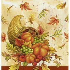8e5f91e299 Each napkin features a fall leaf and cornucopia design. Measures x Includes  18 - 2 ply paper napkins per package.