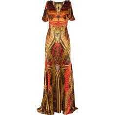 Alexander McQueen Printed silk gown