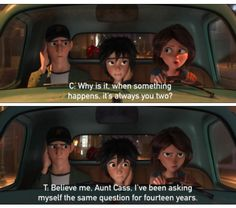 Hiro Hamada and Tadashi and Aunt Cass in Big Hero 6/ Harry Potter quotes