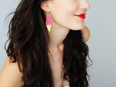 Lace Earrings Neon Pink Earrings Triangle Earrings Gold by EPUU