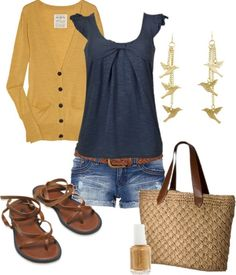 Long mustard yellow cardigan, navy top, denim shorts, chocolate brown sandals & belt, straw handbag