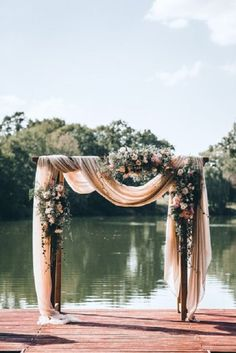 A blush colour theme for a gorgeous wedding with blush sheer chiffon draped wedding arch - Romantischer Hochzeitsbogen für eure freie Trauung am See. Trendy Wedding, Perfect Wedding, Our Wedding, Dream Wedding, Arch Wedding, Lake Wedding Ideas, Wedding Backdrops, Wedding Table, Outdoor Wedding Arches
