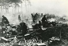 Bofors 40mm anti-aircraft guns and flat trajectory artillery taking part in the barrage that preceded the crossing of the Rhine on March 24th 1945.