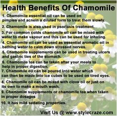 Health-Benefits-Of-Chamomile: Chamomile is also used in psoriasis treatment. Many skin creams and ointments for the treatment of psoriasis have chamomile oil in them.