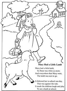 Mary Had a Little Lamb - Coloring Page