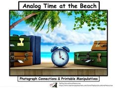 Analog Time at the Beach is an adventure of hourly ocean activities. This resource can be viewed with SmartBoard, white board, projector or document camera and includes 47 pages, a clock manipulative print-out, information to the teacher, an optional teachers script to lesson and links to music.