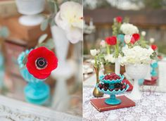 An amazing color combo - white, cream, red and turquoise!