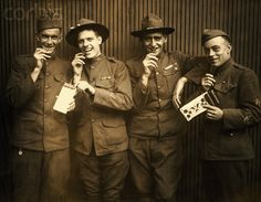 WWI Soldiers Eating Maillards Eagle Sweet Chocolate