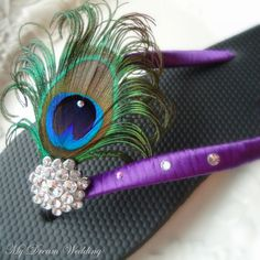 Purple Flip Flops. Peacock Feather Black- Purple Flip flops with Swarovski Crystals ,made in your wedding colors PURPLE-TROPICAL WEDDING-. $34.99, via Etsy.