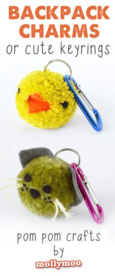 Poms - school bag charms & keyrings Pom Pom Crafts for Kids - backpack charms