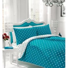 Polka Dot White And Teal Bed Cover