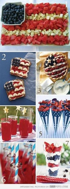 4th of July snacks - Snack ideas and food art for preparing the 4th of July party. by wendy.grieshaber