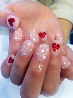 This heart nail art design is perfect for Valentine's Day. For more holiday nail art ideas, see all 22 Valentine's Day manicures. Love Nails, How To Do Nails, Pretty Nails, Pink Nails, Purple Nail, Pastel Nails, Dot Nail Designs, Simple Nail Designs, Nails Design