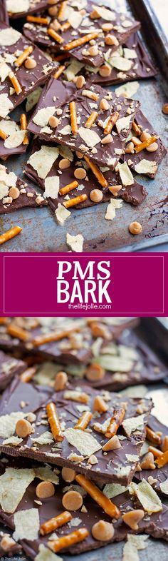 This PMS Bark is the ultimate treat to fulfill both your sweet and salty cravings! Made with rich dark chocolate, salty potato chips and pretzels, peanut butter chips and buttery toffee bits, this recipe is SO easy to make and really addictive- you won't be able to get enough!!