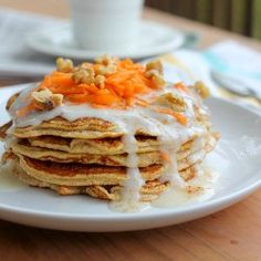 Carrot Cake PancakesP1 & 3 - Carrot cake pancakes By Helen Carey and Tracy Spivey in FMD Support Group (Files) · Edit Doc Carrot cake pancakes1/3 cups oats blended to flour 1/3 cup shredded carrot1 tsp baking powder1/2 cup almond milk----or rice milk for phase 1 1 tbsp egg whitesDash of saltCinnamonVanilla steviaPhase 3 topping Top with 1/2 portion almond butter 1/2 portion canned coconut milkPhase 1 topping Top with berry reductionOr cherry reduction with cocoa powder added to batter