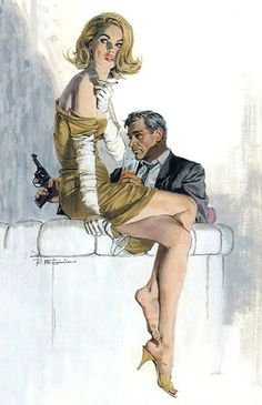 Illustration Master Robert McGinnis. Be still my beating heart. The man who did the iconic James Bond cover art to name but one small portion of his work. I think I love every piece I have seen. Overly sexualized women, totally typical of the time, strong composition, I think, and every image tells and sells the story. Genius. 5/13/2012 ~Ann~