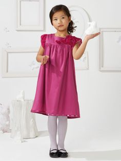 flower girls dress, Vertbaudet, pure cotton satin dress with frills and sequin trim, pink dark solid, £27