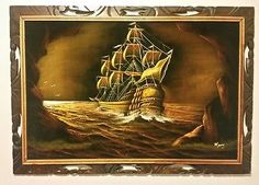 details about velvet ship painting 36x24 signed manny wood carved frame